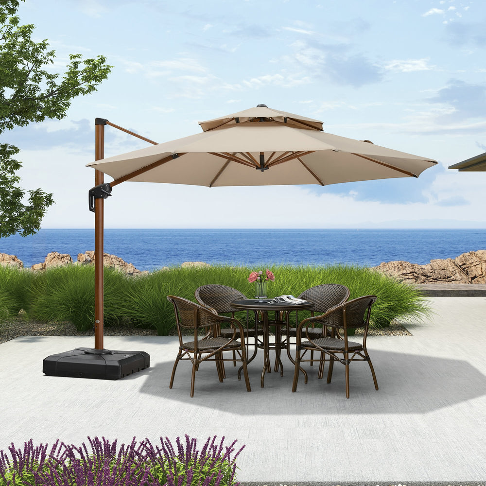 10 ft Wood Pattern Round Cantilever Patio Umbrella