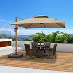 10 Feet Sunbrella Wood Pattern Square Patio Umbrella