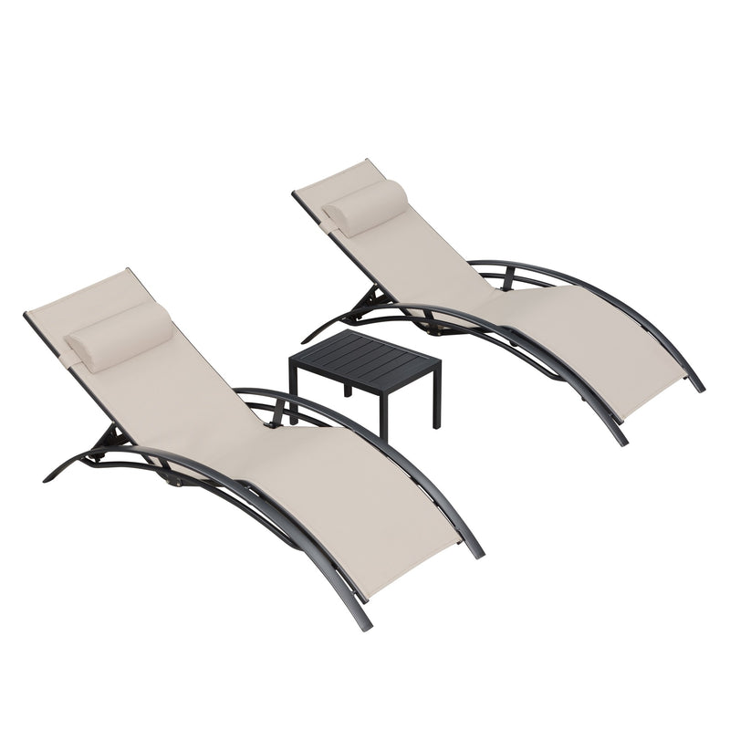 3 Pieces Patio Chaise Lounge Sets Chair with Headrest and Table for All Weather