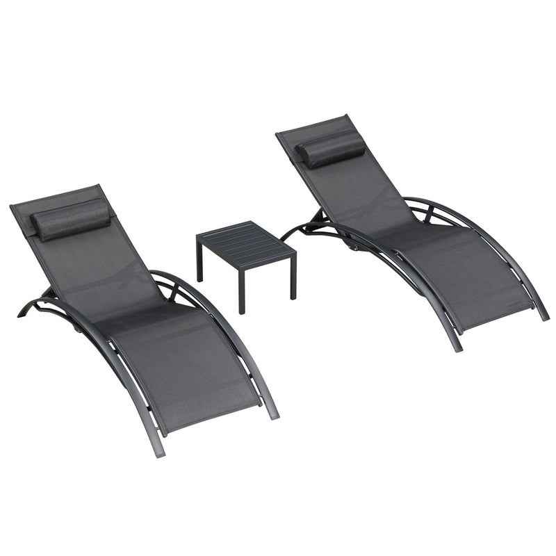 3 Piece Patio Chaise Lounge Sets Chair with Headrest and Table for All Weather,6 Colors