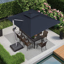9 ft x 12 ft  Solar Powered LED Rectangle Cantilever Patio Umbrella with 360 Degree Rotation