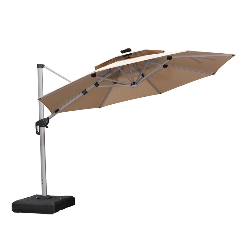 Solar Powered LED Round Cantilever Patio Umbrella
