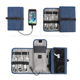 Compact Travel Cable Organizer Portable Electronics Accessories Bag Hard Drive Case for Various USB