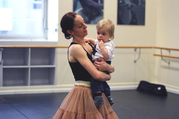 Leanne Stojmenov and Son Max in the Ballet Studio