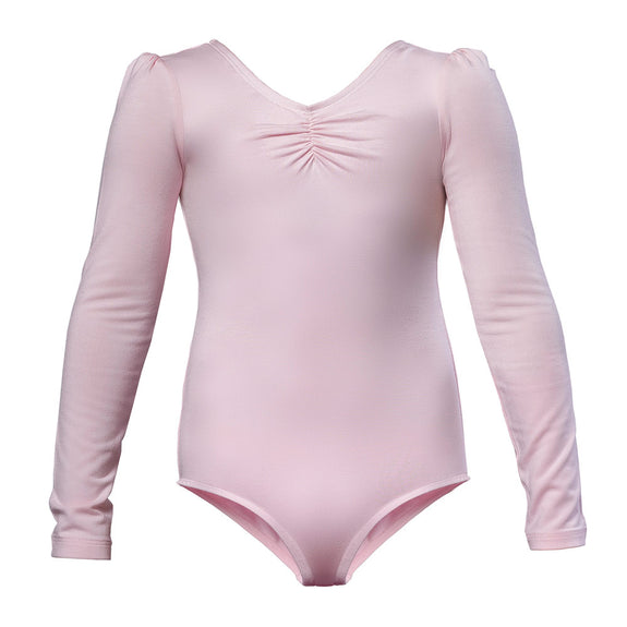 Girls Long Sleeved Ballet Leotard in Pink