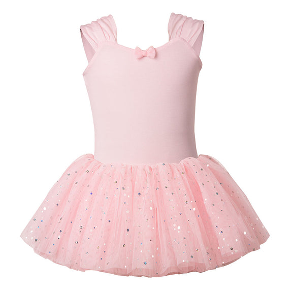 Flo Dancewear Wide Strap Tutu Dress with Sequin Skirt in Pink