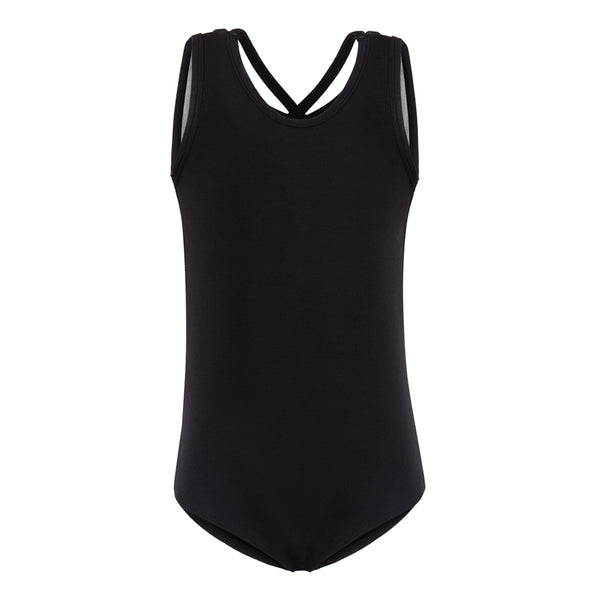 Flo Dancewear Cross Strap Mesh Back Leotard in Black