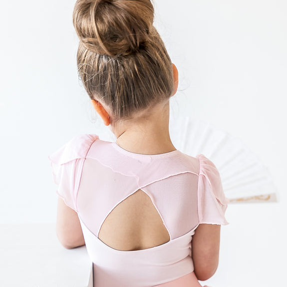 Crossover Mesh Leotard with Flutter Sleeves in Pink