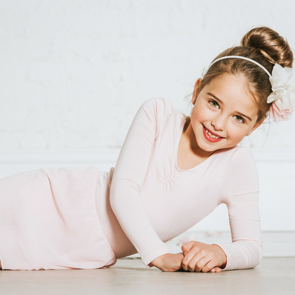 Skirted Long Sleeve Leotard Dress in Pink