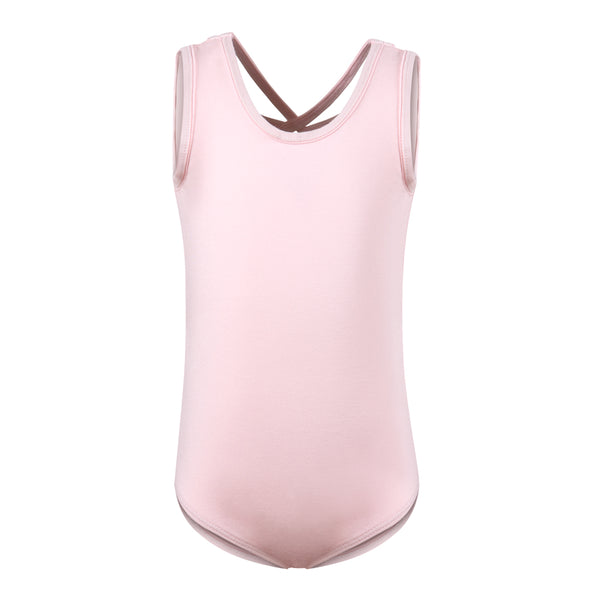 Flo Dancewear Cross Strap Mesh Back Leotard in Pink