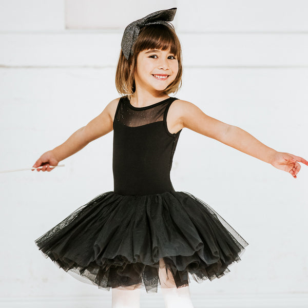 Sparkle Mesh Tutu Dress in Black