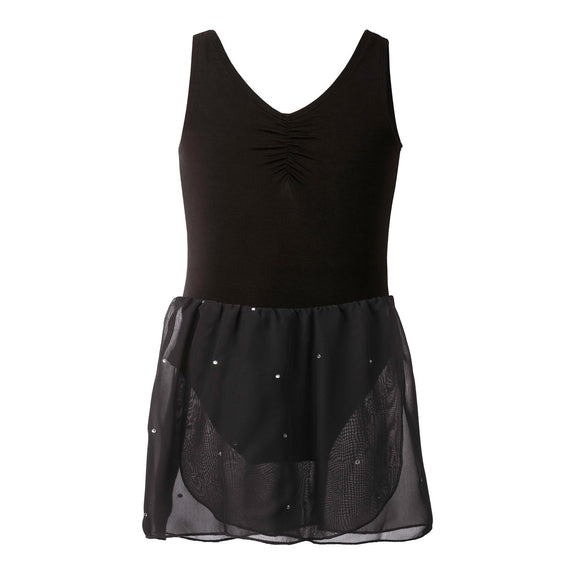 Flo Dancewear Sparkle Skirted Leotard Dress in Black
