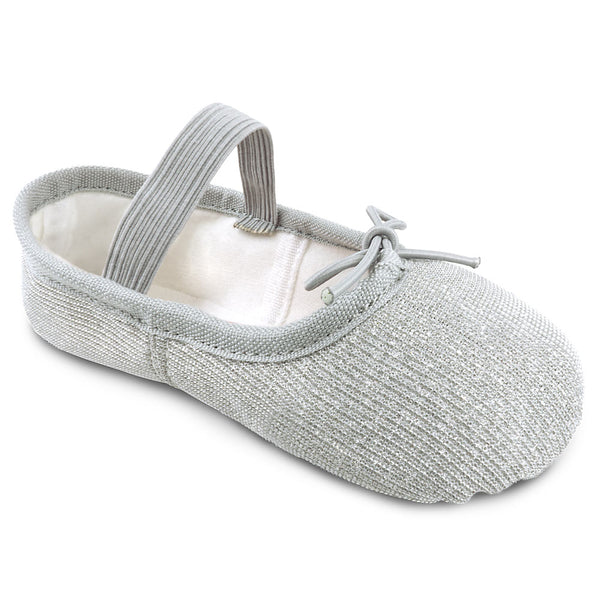 Girls Sparkle Ballet Shoes in Silver