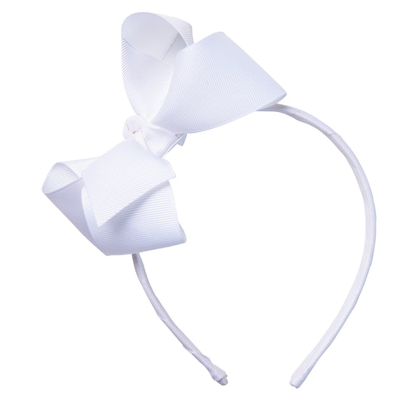 Pixies Bows White Aspen Headband with Grosgrain Bow