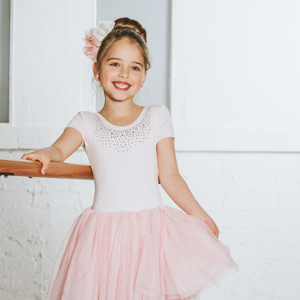 Flo Dancewear Ballet Pink Girls Tutu Dress with Diamanté Collar