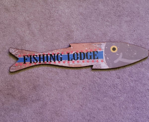 Fishing Lodge Distressed Wall Hanging