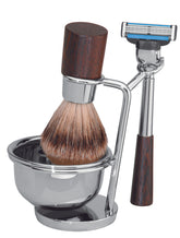Luxury Shaving Set with Silvertip Badger Brush and Wedge Wood Handles by ERBE, Germany