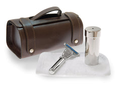 Travel Shaving Set In Brown Leather Case