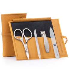 GERMANIKURE 4pc Manicure Set in Leather Case- FINOX¨ Stainless Steel Combination Scissors, Nail Clipper, Glass Cuticle Stick and Nail File