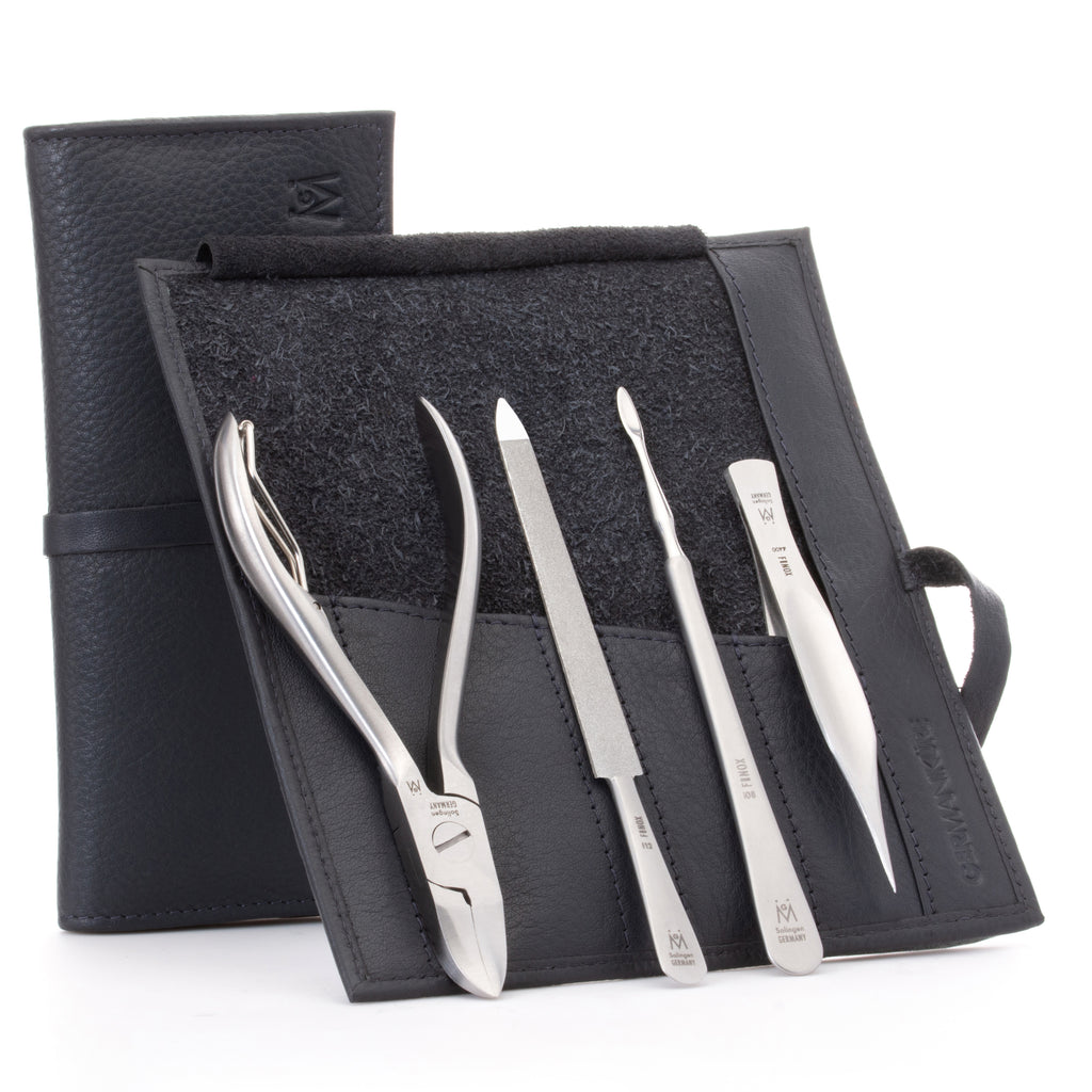 GERMANIKURE 4pc Manicure Set in Leather Case - FINOX¨ Steel Toenail Nipper, Cleaner, Pointed Tweezer, and Sapphire Nail File