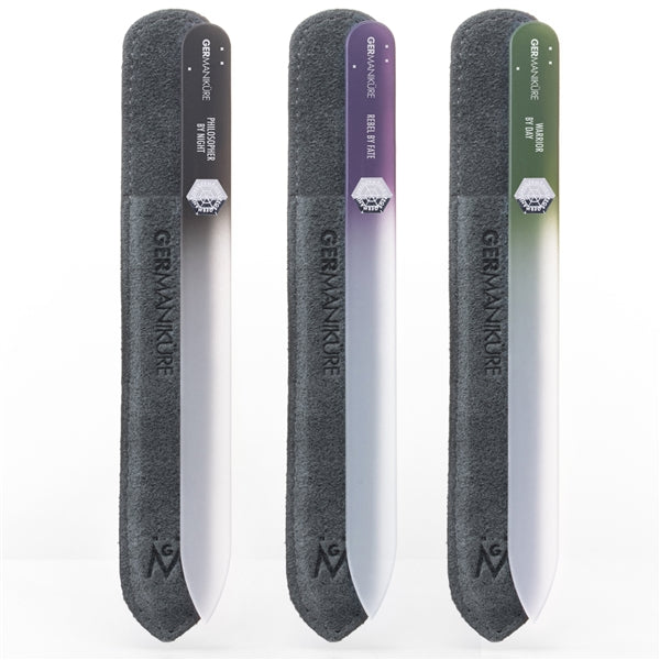 Genuine Czech Crystal Mantra Glass Nail File in Suede. Bundle of 3 pcs