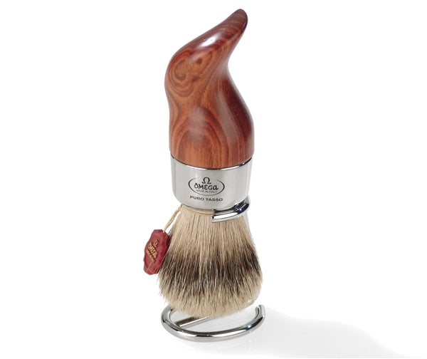 Omega Silvertip Badger Shaving Brush with Fashion Handle and Metal Stand. Made in Italy