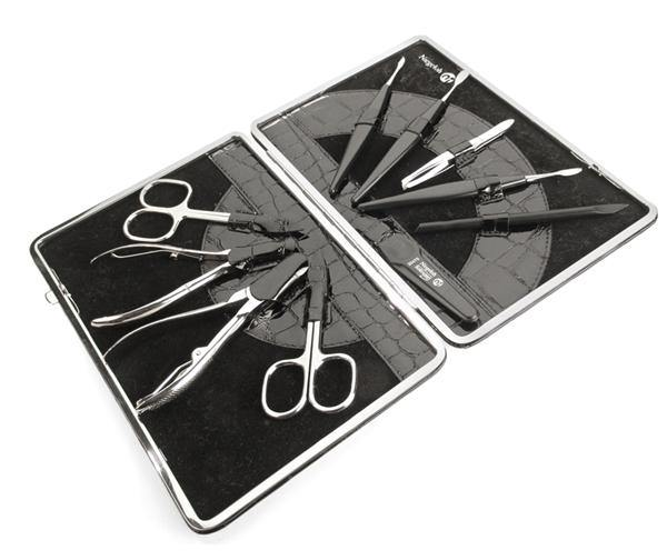 KROKO XL - 10 pcs nickel plated high carbon steel manicure set