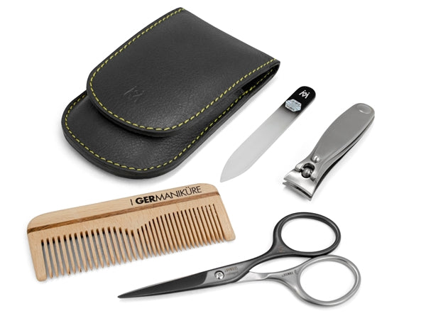 4pcs Mens Travel Grooming Kit German FINOX<SUP>22</SUP> Titanium Steel: Self Sharpening Scissors Nail Clippers Glass Nails File and Comb