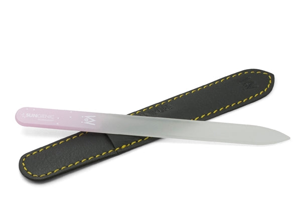 SUNgienic Genuine Patented Czech Crystal Glass Manicure Pedicure Nail File with Pink Handle in Suede