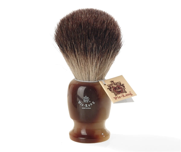 Black Badger Shaving Brush with Resin Handle by Vie-Long, Spain