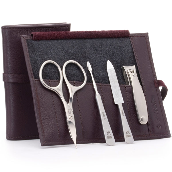 GERMANIKURE 4pc Manicure Set in Leather Case - FINOX¨ Stainless Steel Combination Scissors, Nail Clipper, Cuticle Pusher and Sapphire Nail File