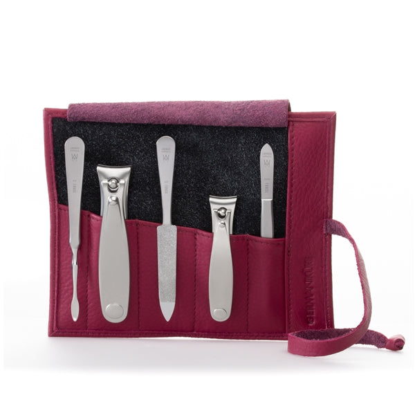GERMANIKURE 5pc Manicure Set in Leather Case- FINOX¨ Surgical Steel Toenail and Fingernail Clippers Cuticle Pusher Tweezers and Sapphire Nails File in Leather