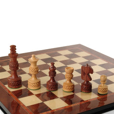 Giglio Asla hand-crafted medium sandalwood/bud rosewood chess pieces