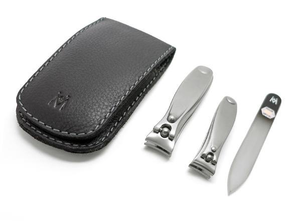 3pcs Travel Manicure Set German FINOX® Surgical Stainless Steel: Clippers Toenail Clipper and Glass Nail File
