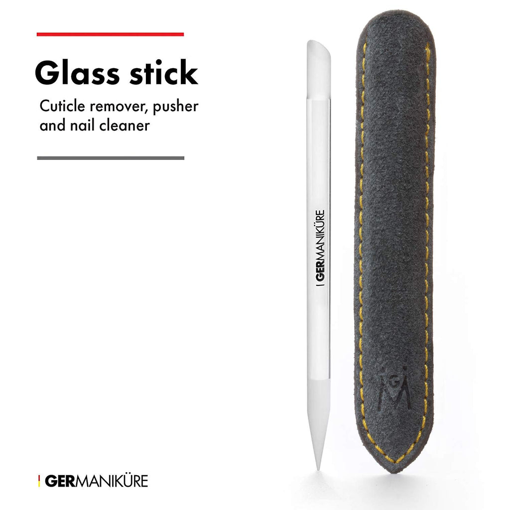 GERMANIKURE's Crystal Glass Manicure Stick and Cuticle Pusher in Suede case