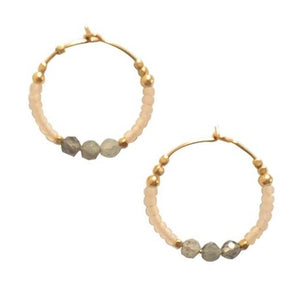 Hoop Earring Beads Cream