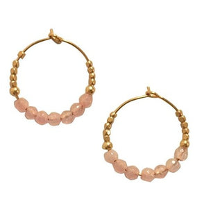Hoop Earring Stones Rose Quartz