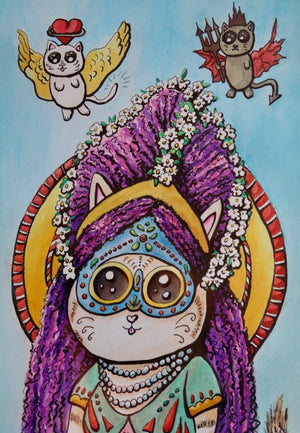 Queen Kitty - Original Watercolor on Paper