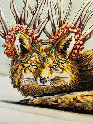 Fierce Fox – Watercolor & Ink on Paper