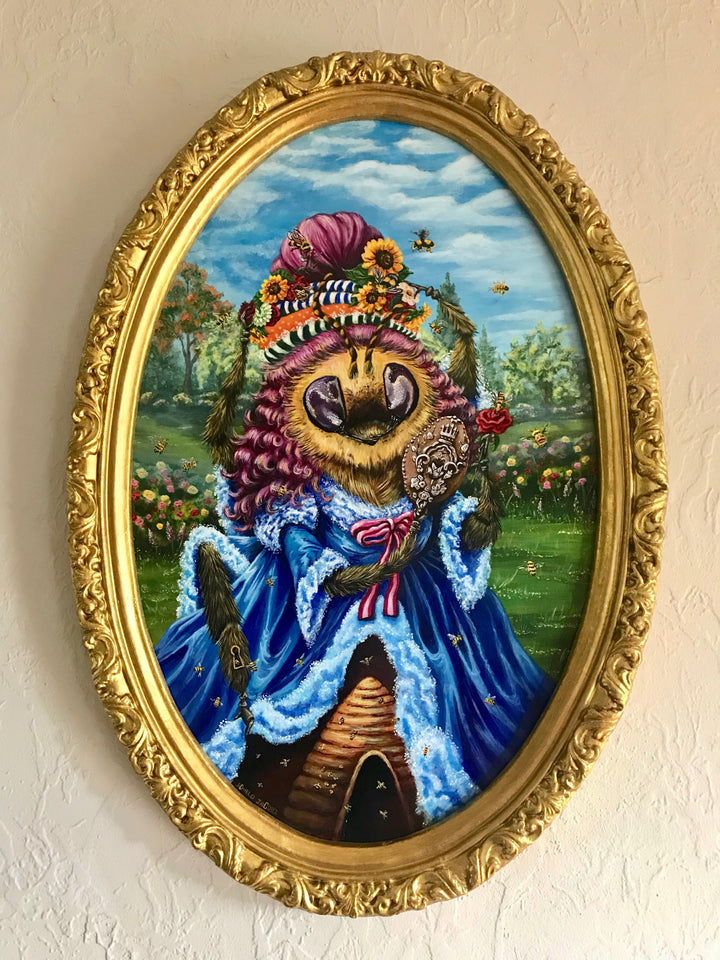 """Beetrice Beaulieu, Queen of the Bees"" - ORIGINAL ACRYLIC ON WOOD PANEL"