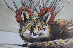 """Fierce Fox #3"" - ORIGINAL WATERCOLOR ON BLACK AND WHITE PRINT OF DRAWING"