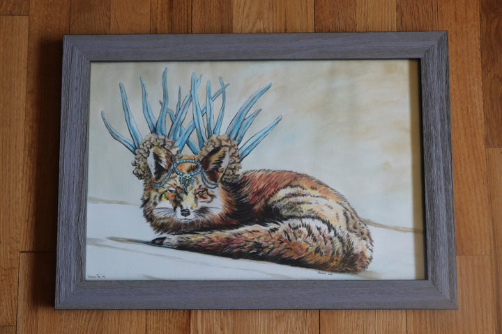 """Fierce Fox #2"" - ORIGINAL WATERCOLOR ON BLACK AND WHITE PRINT OF DRAWING"