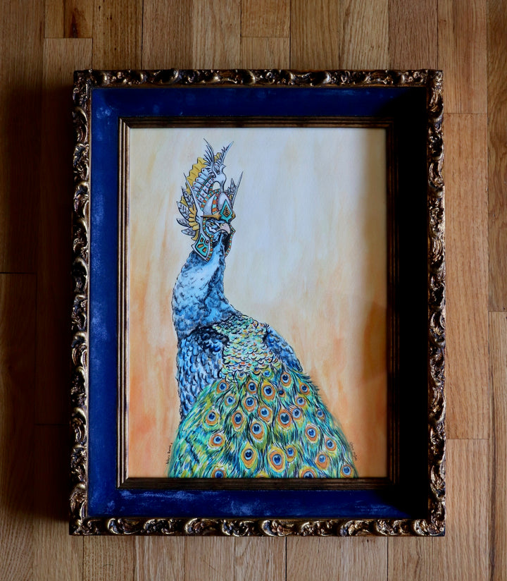 """Valkyrie Peacock"" - ORIGINAL WATERCOLOR ON BLACK AND WHITE PRINT OF DRAWING"