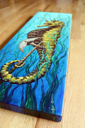 "Persian Armor Seahorse – Acrylic on Canvas - 10"" x 30"" x 1.25"""