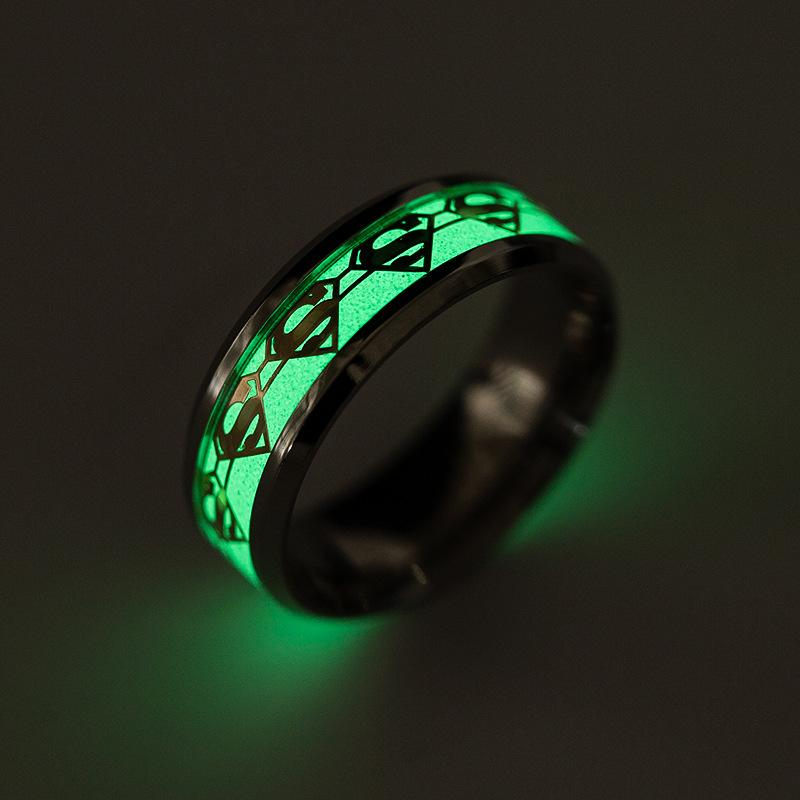ERLUER Men's Stainless Steel Rings Luminous Glow in the Dark Superman Band Women Jewelry Ring