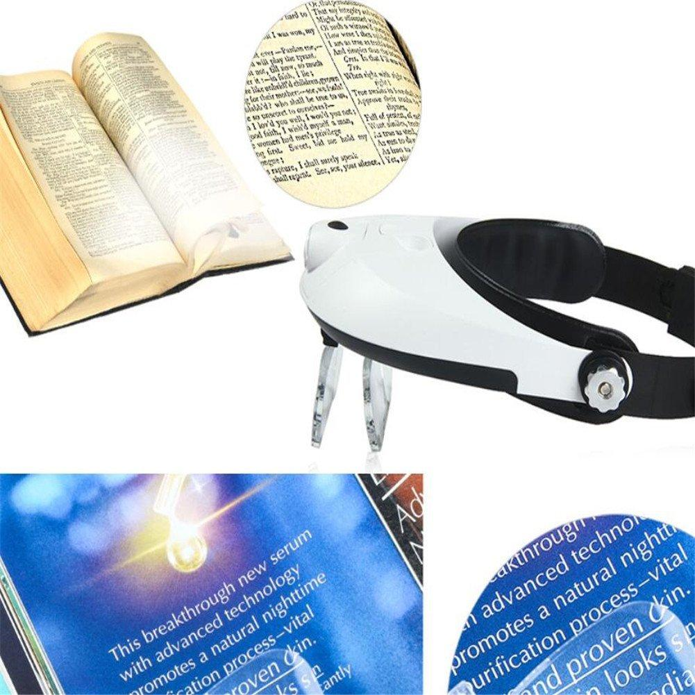 Magnifying Glass,Headband 5 Lens Binoculars Third Hand Magnifier Light Jewelry Repair Reading Magnifying Glass dental loupes