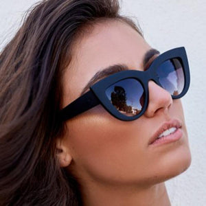 Women Cat Eye Sunglasses Matt black Brand Designer
