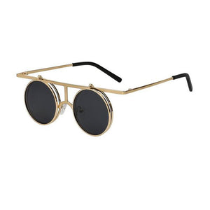 Flip Up Polarized Sunglasses Classic Steampunk Men Women Sunglasses Metal Top Quality Brand Designer Vintage Glasses UV400
