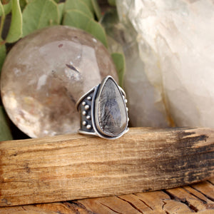 Warrior Ring // Tourmalated Quartz - Size 7 - acid-queen-jewelry, [product_type] - acid-queen-jewelry, Acid Queen Jewelry - acid-queen-jewelry,  Acid Queen Jewelry - acid-queen-jewelry