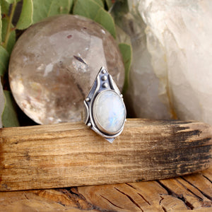 Warrior Ring // Rainbow Moonstone - Size 6 - acid-queen-jewelry, [product_type] - acid-queen-jewelry, Acid Queen Jewelry - acid-queen-jewelry,  Acid Queen Jewelry - acid-queen-jewelry